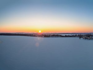 Panorama Ełk - zachód słońca, zdjęcie z drona